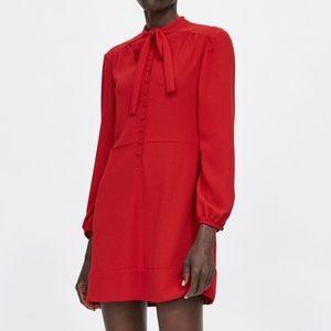 Zara Bright Red Mini Dress with Bow